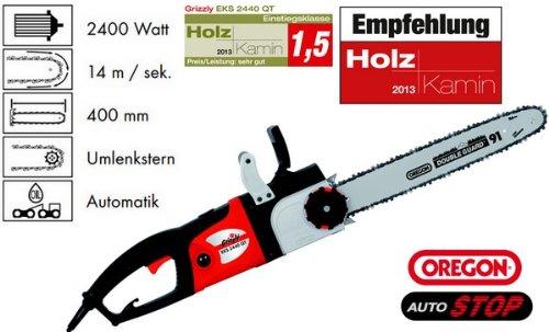 Grizzly Elektro Kettensäge EKS 2440 QT Test Kamin Holz Note 1,5 elektrische Säge Motorsäge