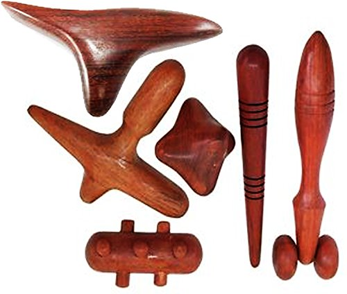 Set 6 pz. Reflexology Traditional Thai Massage Wooden stick Tool Hand Head Foot Face Body Massage Tool Massager Red Wood