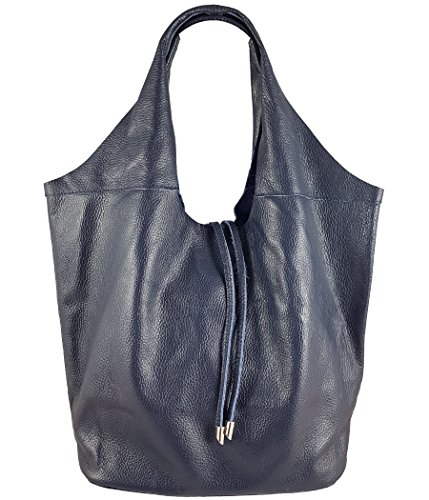 Freyday Echtleder Shopper mit Schmucktasche in vielen Farben Schultertasche Damen Henkeltasche (Dunkelblau)