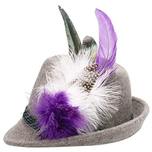 Alpenflüstern Damen Filzhut Trachtenhut grau mit Hutfeder Farbenfroh ADV07200M70 lila