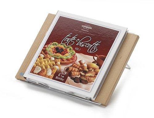 Aris lector - leggìo de mesa plegable Puerta libros/Tablet y libro de cocina para robot de cocina - de haya maciza y acero cromado - Made in Italy - Acabado cerezo