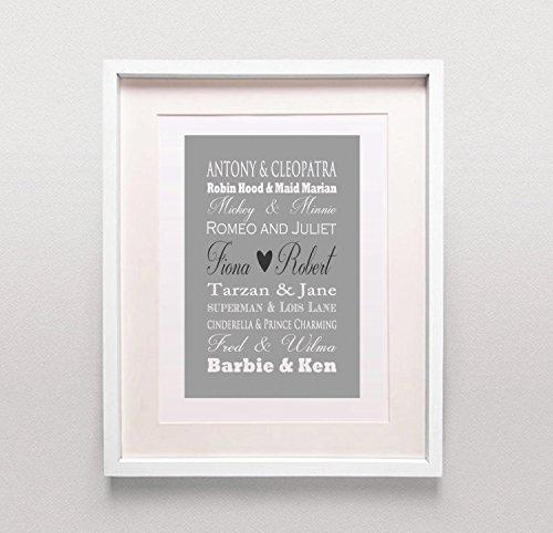 Famosa coppie Stampa/regalo di nozze personalizzati/regalo di nozze/Bridal Shower regalo/Colori Personalizzabili/Romeo e Giulietta/Barbie E Ken, (Bridal Shower Regalo Regalo Di Nozze)