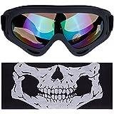 Lictin Gafas lente para motocicleta; Gafas de esquí al aire libre; Gafas de protección UV ajustable portable de la motocicleta de los