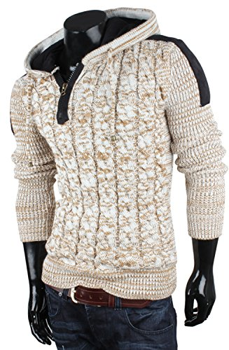 TAZZIO Herren Pullover Grobstrick Zopfmuster Pulli Sweatshirt Strickjacke Jacke Ecru