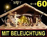 XL Weihnachtskrippe mit Zubehör, groß mit Figuren und Beleuchtungsset Trafo Laterne K60MFTL
