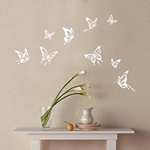Decowall DWG-601N_W Moderne Schmetterling Grafik Wandsticker Wandaufkleber Wandtattoo Kinderzimmer Wandtattoos Vögel Und Schmetterlinge