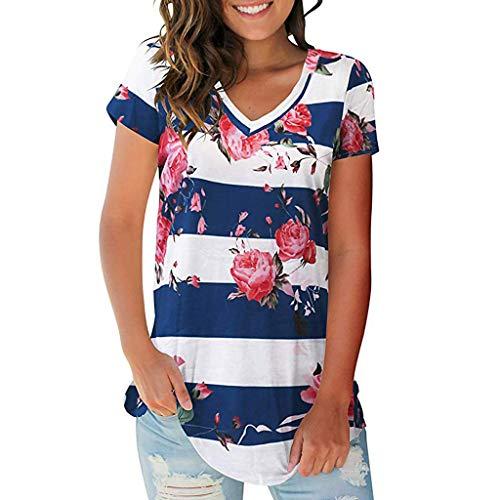 POPLY Damen Bluse Tops Frauen Sommer Streifen Floral Druck T-Shirt Lässige Einfach V-Ausschnitt Kurzarm Shirt Women Casual Tunika Top(Blau,L)