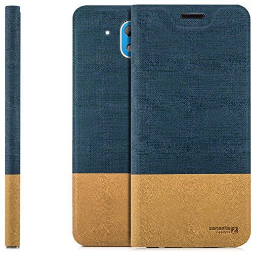 zanasta Designs Tasche HTC Desire 526G Hülle Flip Case Slim Schutzhülle Handytasche mit Kartenfach, Standfunktion | Blau