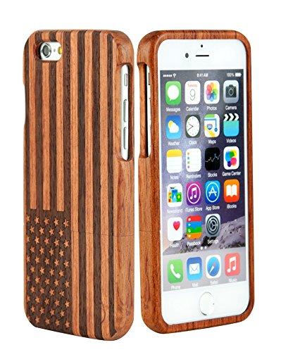 SunSmart iPhone 6 Case 4.7'' Manuel Bois Protective Hard Back Case Cover pour Apple iPhone 6(Seawave cerise) les étoiles et les rayures