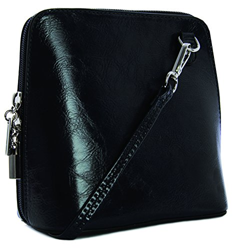Big Handbag Shop mini Damen Umhängetasche Cross Bag aus Kunstleder Schwarz