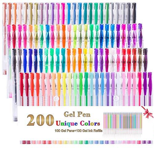 200 Stück Gelstifte Set, 100 Farben Gelstift-Set plus 100 Farb-Nachfüller, perfekt für Erwachsene, Malbücher, Kritzeln, Zeichnen und Kunst-Marker -