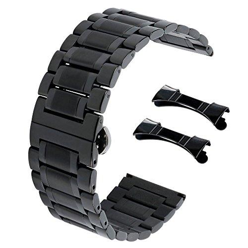 20mm Seiko Uhrenarmbänder schöner Edelstahl Uhrenarmbänder schwarz