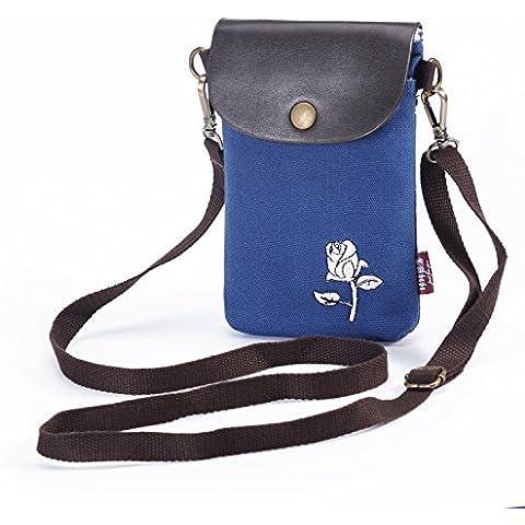 Hengying tela ragazze rosa doppi cinturini piccola borsa sacchetto del cellulare cross-corpo bracciale pochette con cerniera e pattina