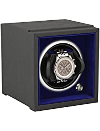 1 Watch Winder for Larger Wrist Sizes Component System Black Soft Touch with Blue Inner by Aevitas