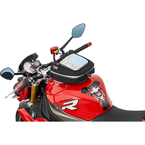 QBag Motorrad-Tankrucksack Quick Lock Quick-Lock Tankrucksack 12 (ohne Oberring), formstabil, ergonomisch, Regenhaube, Schwarz, 5,5-7 Liter, passend für Fast Jede Tankform und jedes Tankmaterial -