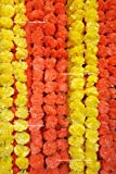 #2: Creatively Natural's - Artificial Marigold Fluffy Flowers Garlands for Decoration - Pack of 10 (5 Yellow & 5 Orange)