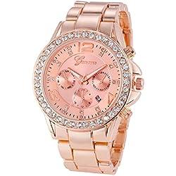 Geneva Platinum Big Size Studded Rose Gold Women's Timepiece - GP-265