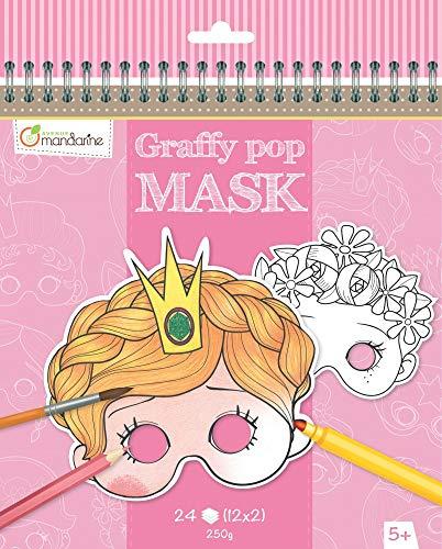 Avenue Mandarine GY021O Malbuch Graffy pop mit vorgestanzten Masken zum Ausmalen, 250g Zeichenpapier gedruckt, 24 Blatt, 12 verschiedene Motive x 2, geeignet für Kinder ab 5 Jahren, 1 Stück, Rot
