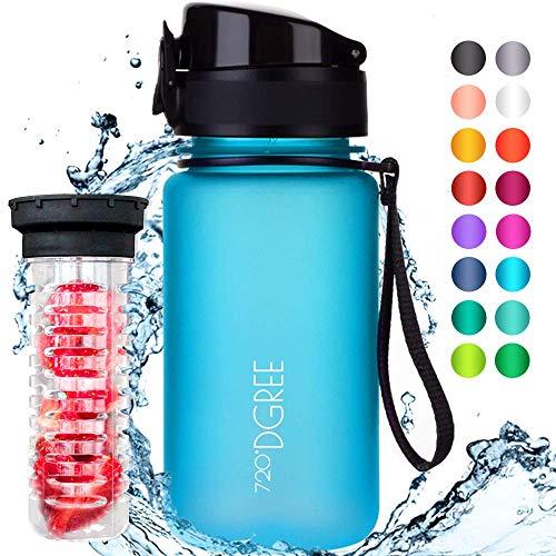 720°DGREE Botella de Agua uberBottle - 350 ml, 350ml, Azul | Novedosa Botella Deportiva | Sin BPA | Ideal para niños, Fitness, Deportes, fútbol, guardería, Escuela, pequeños, antigoteo