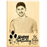 Engraveindia Personalized Wooden Engraved Happy Birthday Frame for Gift (7x5 inches)