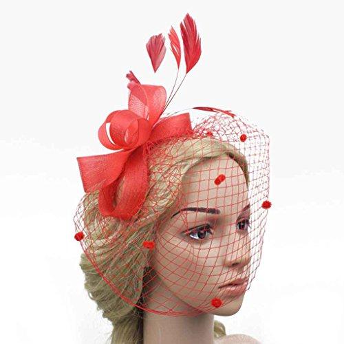 Rot-haar-feder-haar-bogen (Bobury Frauen Bogen Feder Net und Schleier Hut Hochzeit Haar Clip Kopfschmuck Blume)
