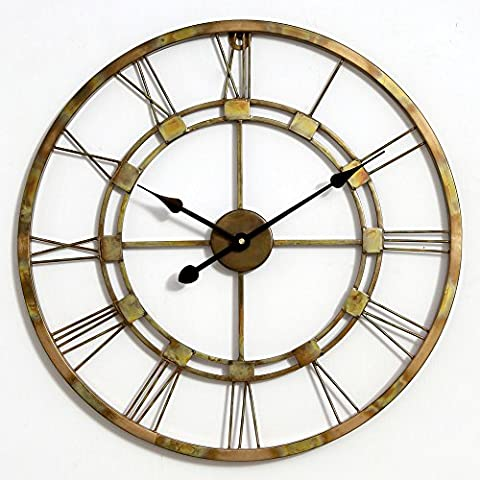 Antique Finish 100% Copper Medium Handmade Wall Clock Metal Wall Art Sculpture Wall Decor and Hanging ( Antique Copper 55 CM