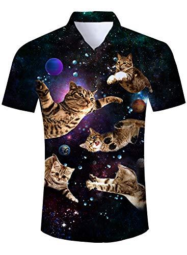 Funnycokid camicia fantasia casual da uomo camicia fantasia manica corta camicia casual estiva button down tops pattern unico