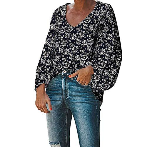 Lange Ärmel Plus Größe T-shirt (HappyShopYZ Damen Plus Größen-T-Shirts Damen Plus Size T-Shirts Lange Ärmel Freizeit Hemd Damen Shirts SommerDamen Bluse Chiffon Elegant V-Ausschnitt)