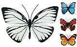 Coen Bakker Schmetterling Metall Wand Deko Bunt Garten Wandschmuck Falter Schmetterlinge, Farbe:Weiß, Größe:30 cm