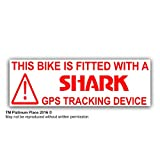 5 x Bike Security Stickers-GPS Tracker-30x87mm-Tracking Device,Warning-Mountain,Bicycle,Racing,Bike,Cycling,Motorbike,Motorcycle,BMX-Shark Alarm Systems