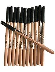 LHWY 12pc Multifunctional Black Eyeliner Eyebrow Pencil   Concealer Pencil for Girls Women Ladies