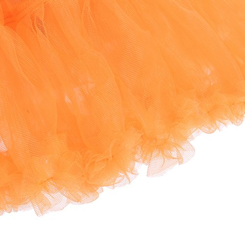 IVNIS Mini Unterrock Petticoat Kurz Ballett Tutu Tüllrock 2 Layered Tanz Pettiskirt Orange