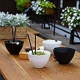 Kenley Ramen Schale Schüssel Set - Groß 1L Suppenschalen Suppenschüsseln Reisschalen - Ø18,5cm Nudelschale, Bambus Essstäbchen & Keramik Löffeln für Asiatisches Geschirr - Mikrowellenfest Porzellan