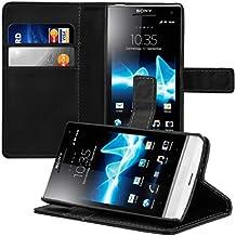 kwmobile Elegante funda de cuero sintético para el Sony Xperia S con cierre magnético y función de soporte en negro