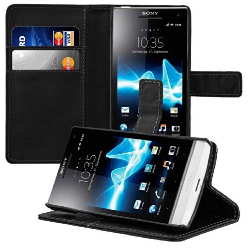 kwmobile Wallet Case Hülle für Sony Xperia S - Cover Flip Tasche mit Kartenfach und Ständerfunktion in Schwarz