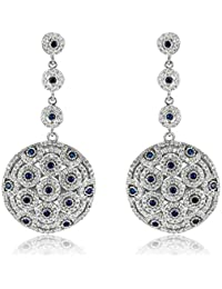 Shaze Silver Rhodium Plated Brass Style Diva Earrings for Women