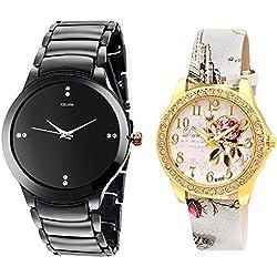 Kitcone Jewellery Bracelet Style Gold Plated Belt Women's Watch Men's Watch -Type-258(PACK OF 2)