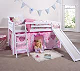 Cabin Bed Mid Sleeper in White with Fairy Tent 66-WG-FAIRIES