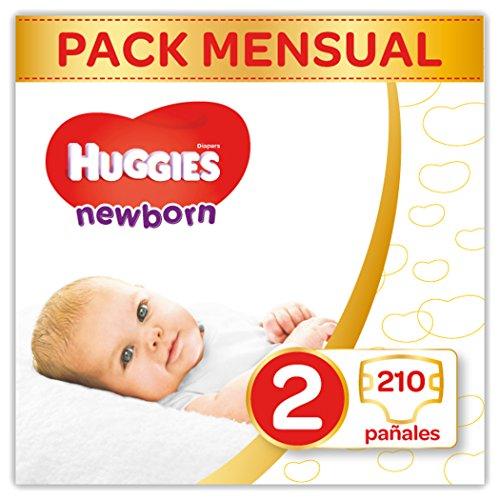 Huggies Newborn - Pañales Recién Nacido Talla 2 (3-6 kg) - 210 Pañales