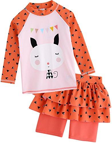 Vaenait baby 2T-7T Kids Girls Rashguard Swimsuit Long Shirt and Cancan Shorts Set