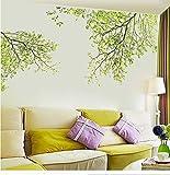 Foglie verdi Rami degli alberi Stickers murali Tv Sfondo Soggiorno Camera da letto Decorazioni per pareti Poster Grafica verde Scene Wallpaper Sticker60 * 90Cm