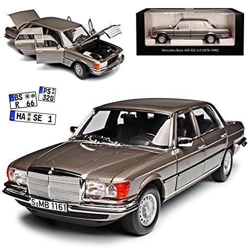 Norev Mercedes-Benz S-Klasse W116 450 SEL 6.9 1976 Anthrazit Grau Metallic 1972-1980 1/18 Modell Auto mit individiuellem Wunschkennzeichen