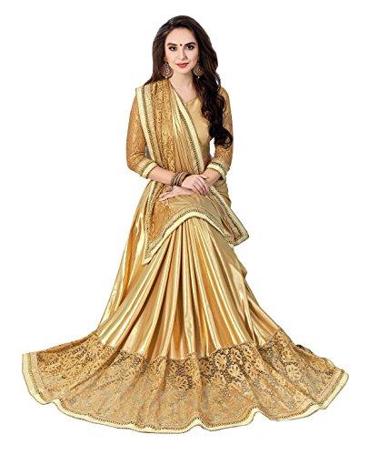 Aarti Apparels Women's Designer Embroiderd Shimmer Sari