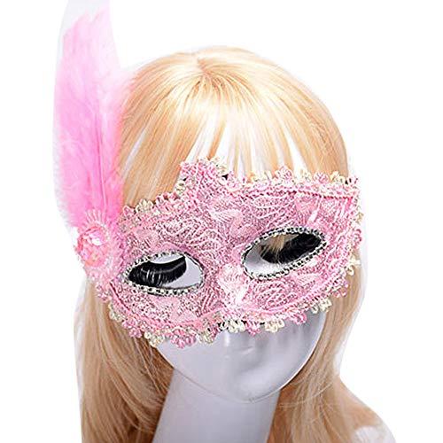 EBILUN Mode-Maske mit FeatherCrystal Bohrer für Masquerade Ball Kostüm ()