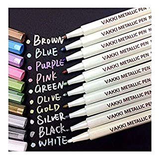 Metallic Marker Pens, Vakki Set of 10 Assorted Colors for Photo Album Drawing DIY Birthday Greeting Gift DIY Card Making Rock Painting Glass Plastic Pottery Wood Surface