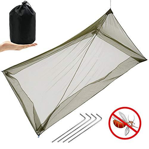 MAIKEHIGH Moskitonetz Reise für Camping Einzelbett, Tragbar Kompakt Leicht Insektennetz für Outdoor Indoor Schlafsack Mesh 225, Armee Grün
