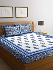 Boutique Bedding Queen Size 100 Cotton 250TC Bedsheet with 2 Pillow Covers (Blue, 235x225 cm)
