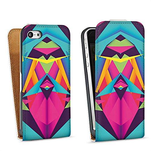 Apple iPhone 5 Housse étui coque protection Couleurs sympas Triangles Triangles Sac Downflip blanc