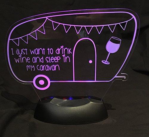 Pink Rose Trading Ltd LED Nightlight Caravan WINE Lovers Great gift idea! Desk Table Lamp Light