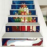 Treppenaufkleber Weihnachten Verkleiden Sich Treppen Aufkleber Schlitten Geschenk Treppen Dekorative Wandaufkleber 18CM*100CM*6 Stück